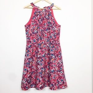 LOFT | Red & Blue Floral Dress Halter Neck Large